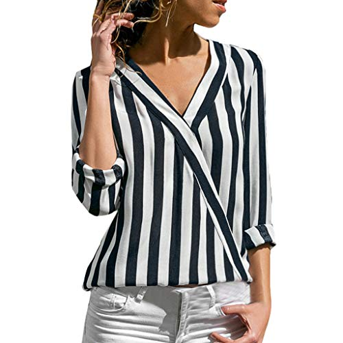 ✨Loosebee Womens Casual V Neck Striped Chiffon Blouses Long Sleeve Button Down Shirts Tops with Front Pockets Black