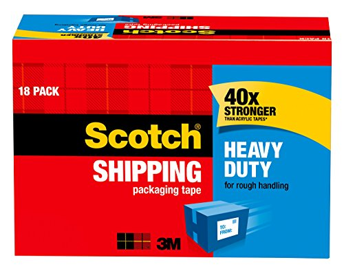 Packaging Tape Cabinet Pack (Scotch Heavy Duty Shipping Packaging Tape, 3
