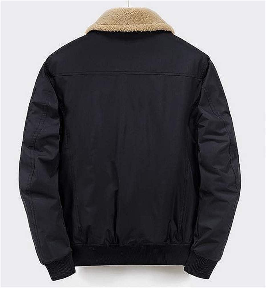 Cromoncent Mens Fashion Fleece Quilted Padded Bomber Lapel Neck Jacket Anoraks Parka Coat
