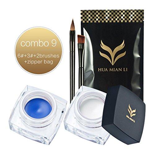 Creazy Huamianli Set Cream Eyeliner Fashion Waterproof Makeup Gel Eyeliner With Brush (A)