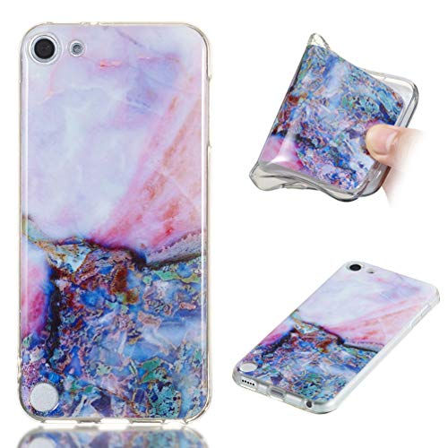 Skin Slicone - iPod Touch 6 Case, iPod Touch 5 Case Marble Painting Flexble TPU Cover Shock Absorption Technology Bumper Slim Soft Protective Shell Anti-Scratch Skin for Apple iPod Touch 6/5 by Badalink (Blue)