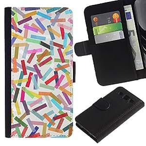 WINCASE (No Para S3 Mini) Cuadro Funda Voltear Cuero Ranura Tarjetas TPU Carcasas Protectora Cover Case Para Samsung Galaxy S3 III I9300 - colorido patrón de líneas de colores pastel abstracto