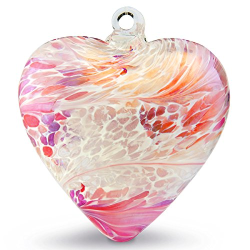 Hand Blown Glass Heart Ornament by Iron Art Glass Designs (Fuchsia White)