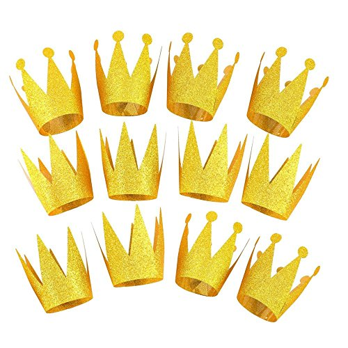 VLFriday Gold Crown Party Hat Prince Princess Birthday Glitter Decorations with Elastic Rope for Kids/Adult, 12pcs -