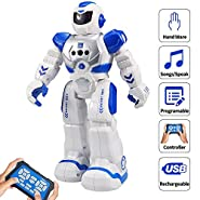 Samate Remote Control RC Robots for Childrens?Interactive Singing Walking Dancing Smart Programmable Robotics?LED Eyes,Gesture Sensing Robot Kit for Kids Entertainment (Blue)