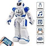 Samate Remote Control RC Robots for Childrens,Interactive Singing Walking Dancing Smart Programmable Robotics,LED Eyes,Gesture Sensing Robot Kit for Kids Entertainment (Blue) (Blue)