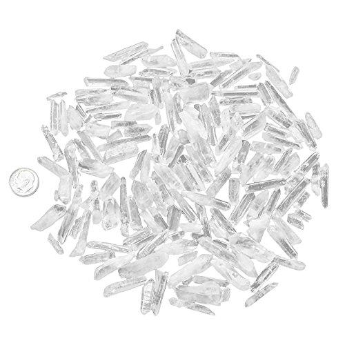 Jovivi 200g-10mm-30mm Petites Pièrres Irrégularité Quartz Blanc Morceau en Vrac Stone Caillou Cabochon Point Colonne de Cristal Décoration Bibelot Maison + Coffret Cadeau
