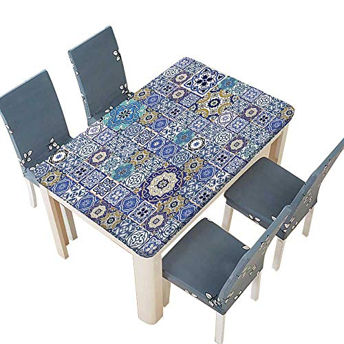 PINAFORE Indoor/Outdoor Spillproof Tablecloth Mega Gorgeous Seamless Patchwork Pattern from Colorful Moroccan Tiles,Ornaments Can be Used for Wallpaper Table Top Cover W73 x L112 INCH (Elastic Edge)