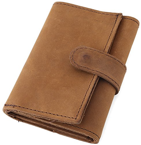 RFID Blocking Mens Top Grain Crazy horse Leather Tri-Fold Wallet, 16 credit card slots,Made in USA,MT374,Brown ()