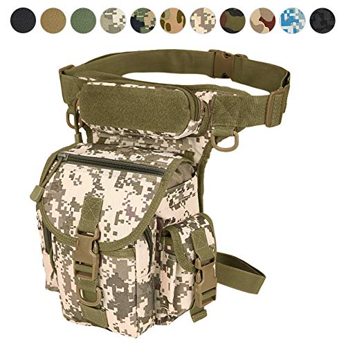 Military Tactical Drop Leg Bag Tool Fanny Thigh Pack Leg Rig Utility Pouch Paintball Airsoft Motorcycle Riding Thermite Versipack, Black/Tan/Army Green/Camouflage.11 Colors (Desert Digital)