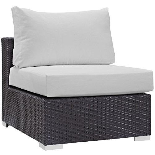 Modway Convene Wicker Rattan Outdoor Patio Sectional Sofa Armless Chair in Espresso White