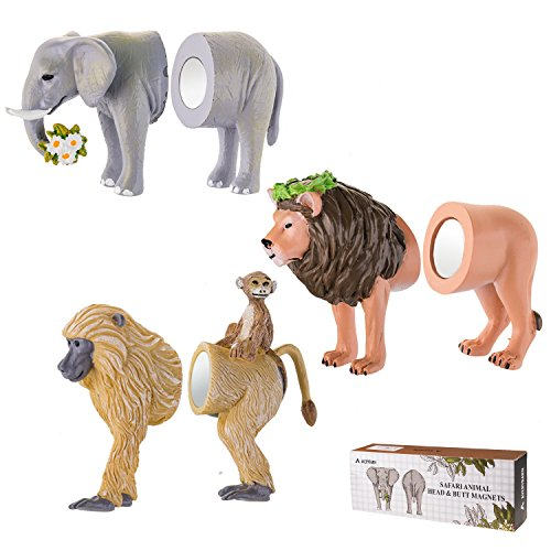 Avery Barn 6PC Safari Animal Head & Butt 3-D Refrigerator Magnets Funny by Avery Barn