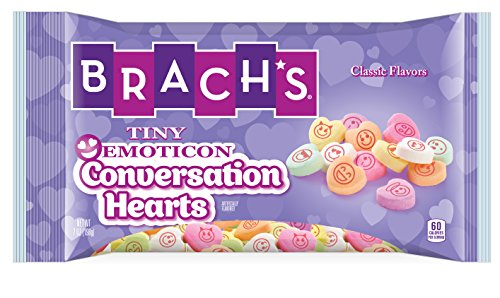 Brach's Tiny Emoticon Conversation Hearts Valentines Day Candy, 7 oz