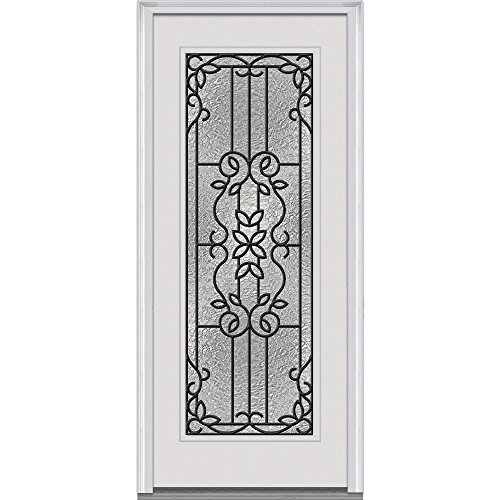National Door Company Z000426R Fiberglass Prehung Right Hand In-Swing Entry Door with Mediterranean Decorative Glass Full Lite Smooth 36 x 60