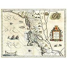 Map Antique New England York Manhattan USA Art Poster Print