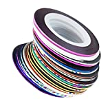UNKE Mixed Colors Rolls Striping Tape Line Nail Art Tips Decoration Sticker DIY Kit