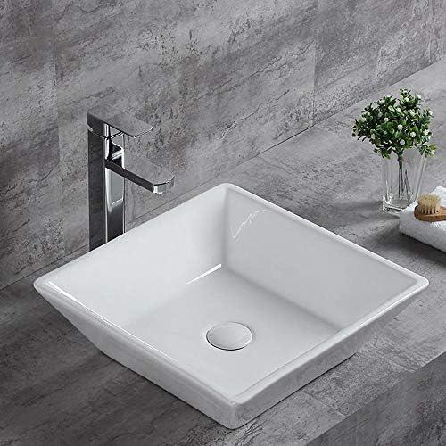 洗面ボール バスルームバルコニーホームトイレのための現代浴室の容器シンクスクエア上記カウンターセラミック盆地ボウル 洗面器 (Color : White, Size : 42x42x12cm)