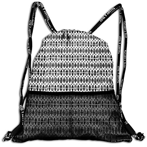 Drawstring Backpacks Bags,Horizontal Borders With Ethnic Motifs Monochrome Triangles And Oval Shapes,Adjustable ()