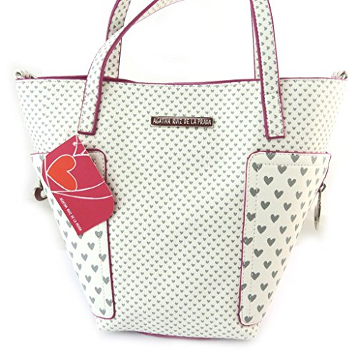 french touch' bolsa 'Agatha Ruiz De La Prada'fucsia blanco - pequeños corazones.