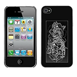 Colorful Printed Hard Protective Back Case Cover Shell Skin for Apple iPhone 4 / iPhone 4S / 4S ( Floral Black White Skull Floral Pattern )