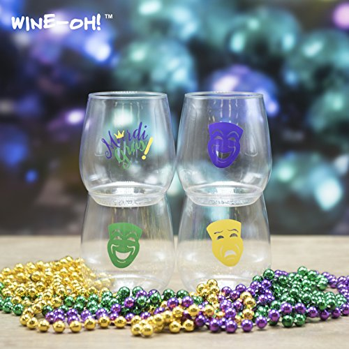 (Set of 16 BPA Free Plastic Printed 14 Ounce Shatterproof Wine Glass (MARDI GRAS))