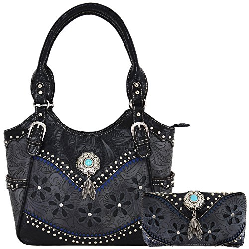 - Tooled Leather Laser Cut Concealed Purse Conchos Feather Country Western Handbag Shoulder Bags Wallet Set (Black Set)