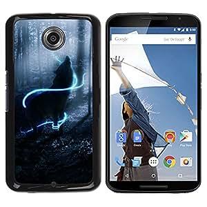 Qstar Arte & diseño plástico duro Fundas Cover Cubre Hard Case Cover para Motorola NEXUS 6 / X / Moto X Pro ( Howl Wolf Neon Mystical Mist Nature)