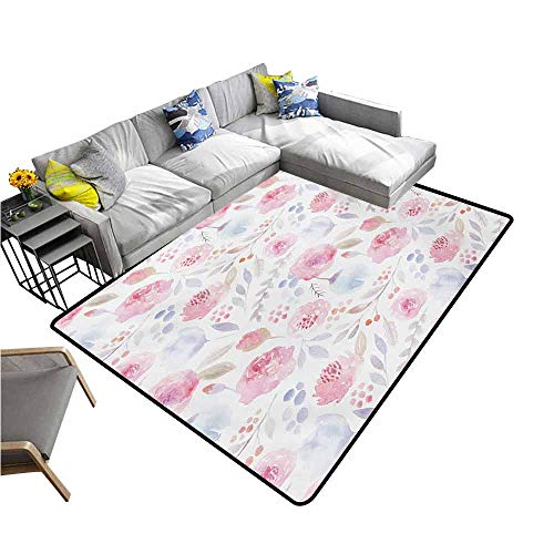 (Floor Mat Entrance Doormat Watercolor,Delicate Spring Pattern Blooming Roses Buds Leaves Feminine Romantic,Pale Pink Baby Blue 48