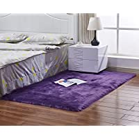 Furry Fluffy Fuzzy Soft Solid Faux Fur Sheepskin Lambskin Sheep Hide Animal Skin Livingroom Bedroom Nursery Room Floor Rug Carpet Area Rug Indoor,Purple 2.5x5ft Bedside Rug