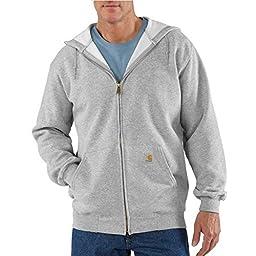 Carhartt Men\'s K122 Midweight Zip Front Hooded Sweatshirt - Medium - Heather Gray