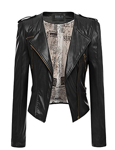 Women's Zipper Point Simple Leather Jacket