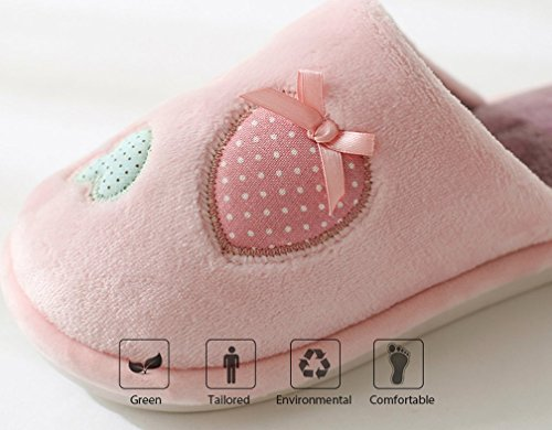 Cattior Dames Koraal Schattige Huis Schoenen Slaapkamer Pantoffels Roze 1