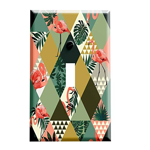 Abstract Tropical Flamingo Switch Plate - Switchplate Cover - 1 toggle
