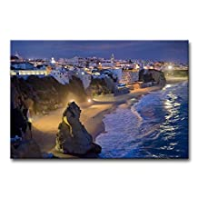 Blue Wall Art Painting Albufeira City By The Sea Beach Lights Pictures Prints On Canvas Seascape The Picture Decor Oil For Home Modern Decoration Print For Bedroom