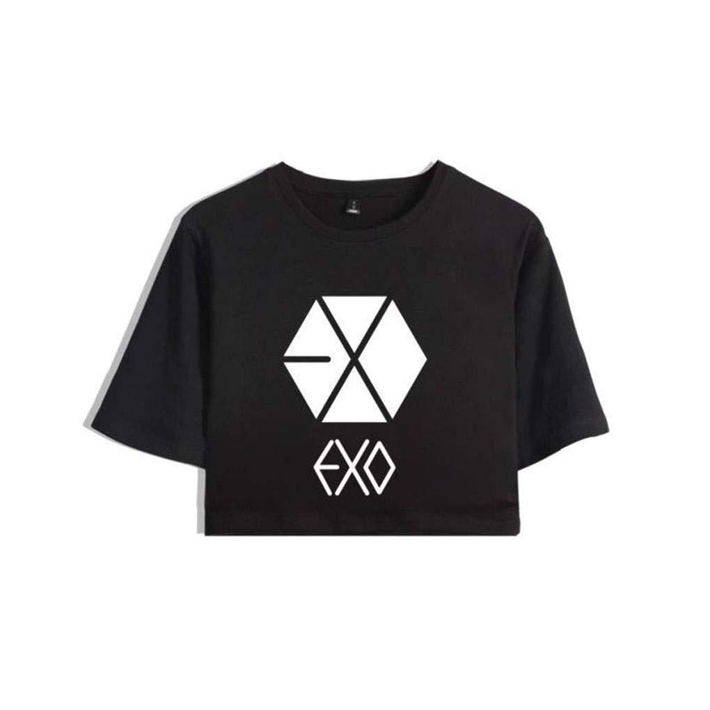 Memoryee KPOP EXO Stampato Crop Top Maglietta e Shorts Abbigliamento Set 2 Pezzi Tute Outfit per Ragazze e Donne Sportswear