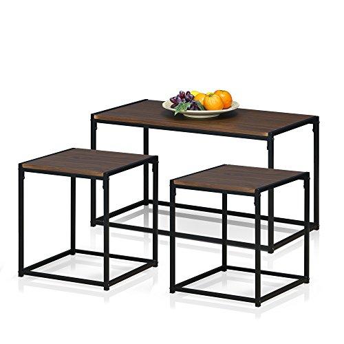Furinno FM-TS31DW Modern Lifestyle Living Room Set, Dark Walnut (Table Set Table End Coffee)