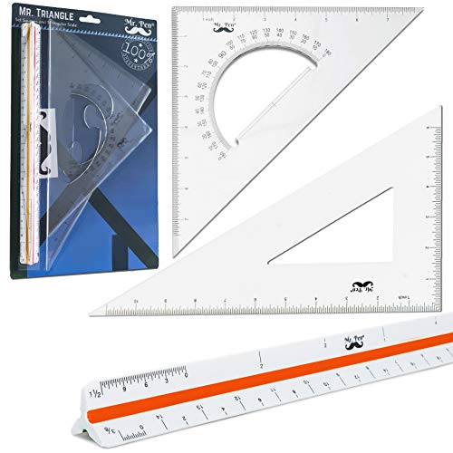 Mr. Pen Architectural Triangular Ruler Set with 12