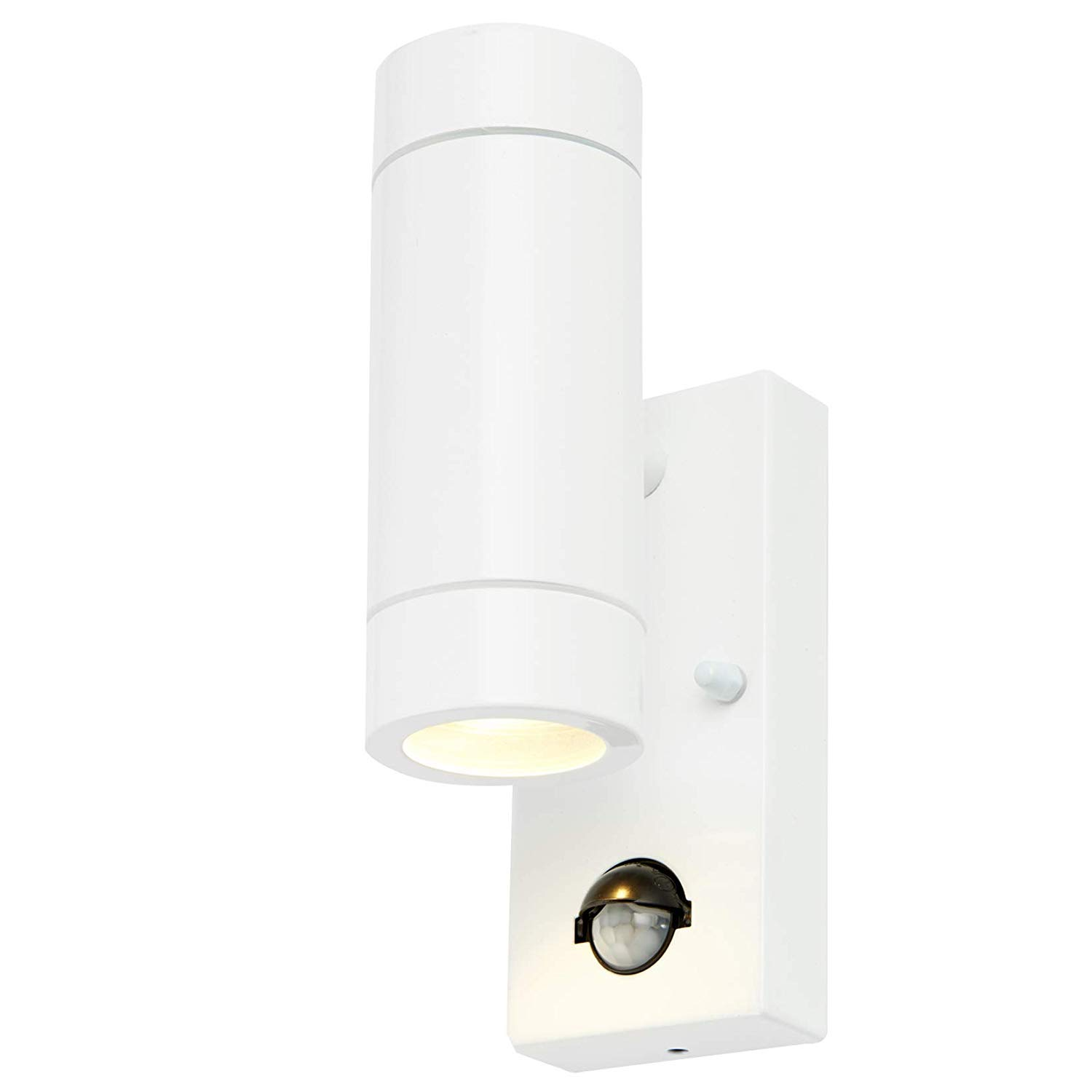 Modern Brushed Stainless Steel External Up//Down Outdoor Security PIR Motion Detector GU10 Wall Light IP44 Rated
