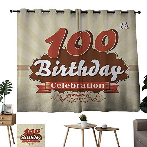 Warm Family Black Curtains 100th Birthday,Chocolate Wrap Like Brown Party Invitation Hundred Years Celebration,Cinnamon and Cream 72