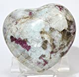 2.75'' Pink Toumaline in Rainbow Moonstone Matrix Heart Natural Rubellite Gemstone Crystal Mineral Décor Specimen - Africa + Acrylic Stand