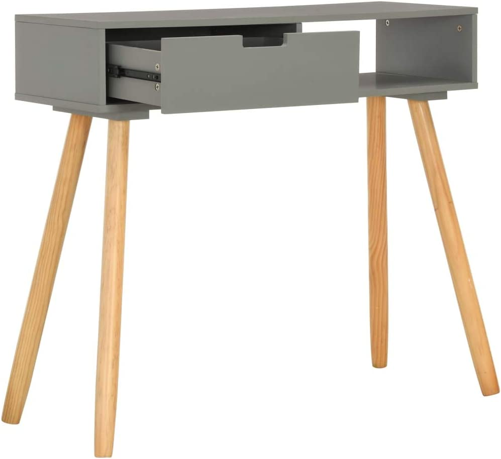 Festnight Table Console Table dappoint Table dextr/émit/é Gris 80x30x72 cm Pin Massif