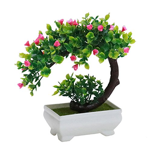 GreensCharm Artificial Bonsai Tree Faux Potted Plant with White Pot - Mini - 8 inch (Potted Rose Topiary)