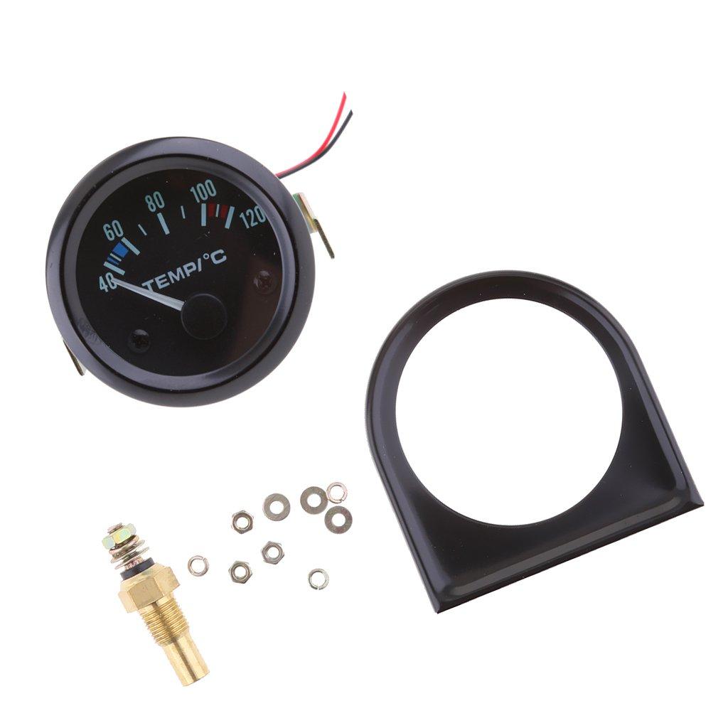 Gazechimp 52mm Universal Amarillo LED Indicador del Sensor de Temperatura de Agua Medidor para Coche