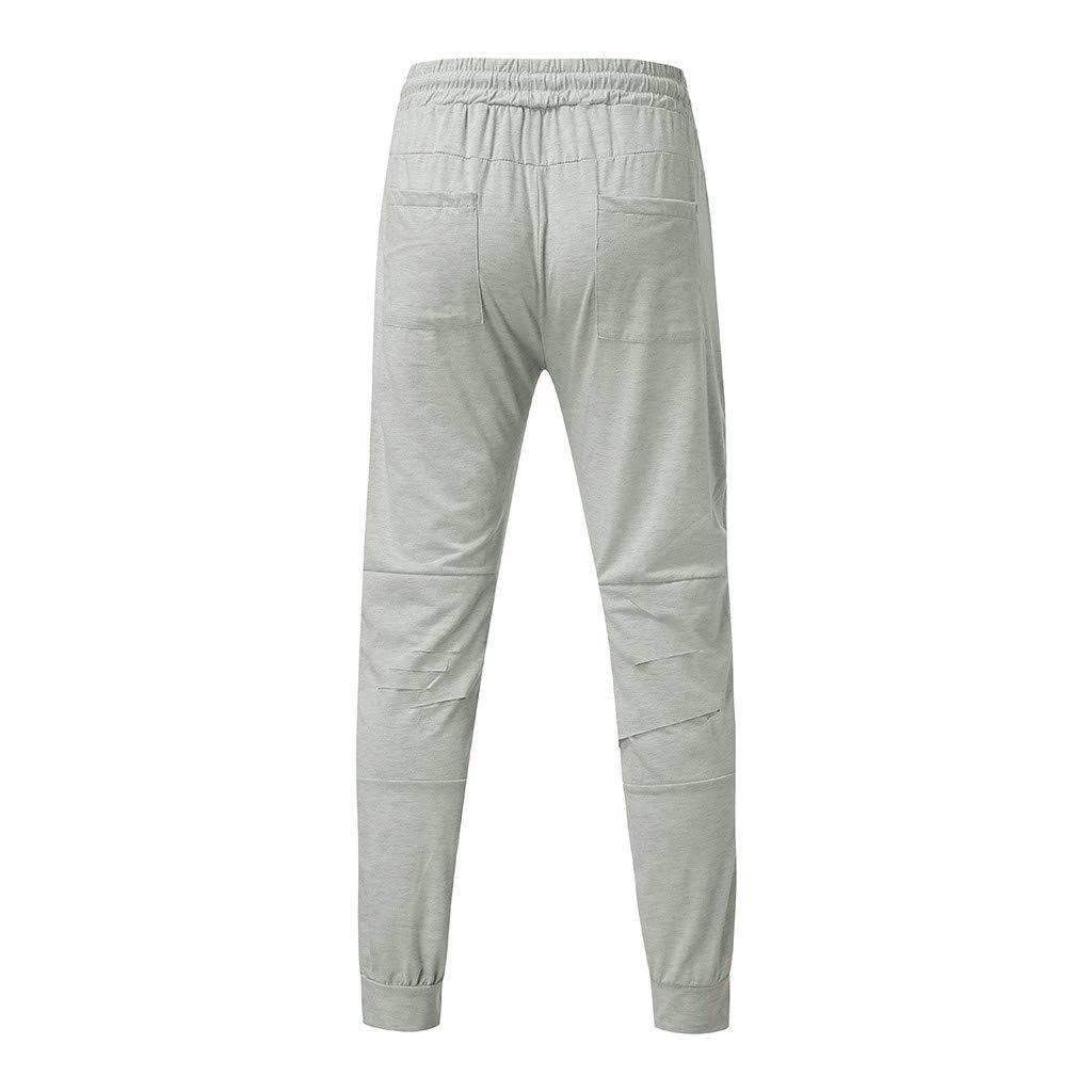 Moda Color S/ólido Pantalones de ch/ándal Sueltos Ocasionales Hombres Rotos Pantalones de ch/ándal Sueltos Pantal/ón con cord/ón Ajustable Pantalones Deportivos para Hombre mmujery