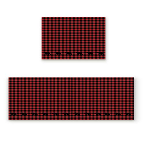 "Greday Kitchen Rugs, Non Slip Mat Kitchen Rug Set 2 Piece Buffalo Check Plaid Bear Applique 19.7""x31.5""+19.7""x47.2"""