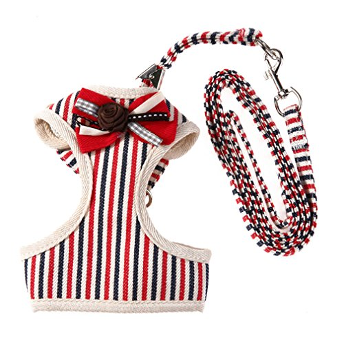 ZIRASS Ajustable Chest Pet Chest Vest Dog Harnesses Pet Collars Pet Chest Back Traction Belt Walking Red L
