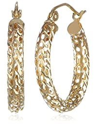 14k Yellow Gold 3mm Cut-Out Hoop Earrings
