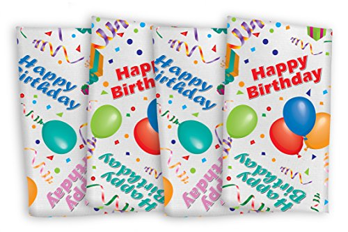 Celebration Tablecloths 17 x 17 Inch Happy Birthday Napkins (4 Pack) White Restaurant Quality Polyester Fabric Machine Wash and Dry No Wrinkles No Iron No Stains Made in USA Birthday Party