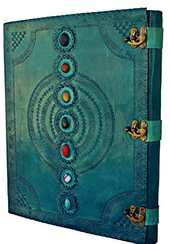 AOL Seven Chakra Medieval Stone Embossed Handmade Jumbo Leather Journal Book of Shadows Notebook Office Diary College Poetry Sketch 14 x 22 Inches (Ocean Blue)