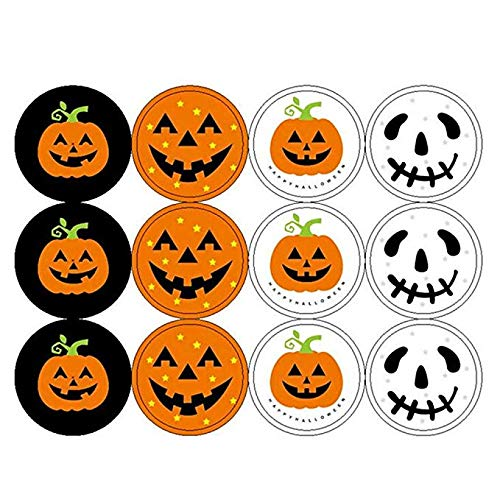 LuFOX 12 Sheets Round Pumpkin Head Halloween Decoration/Candy Bag Sealing Sticker for Halloween Party (144 pcs)